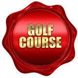 golf course, 3D rendering, red wax stamp with text