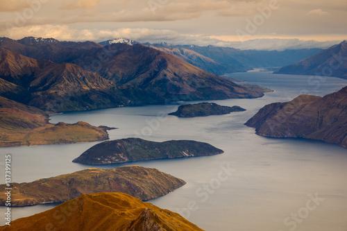 Beautiful sunrise landscape view of Lake Wanaka, New Zealand Poster