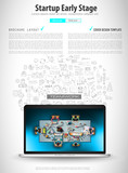 Infograph Brochure template with hand drawn sketches and a lot of mockups design elements