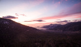 Aerial sunset landscape in California