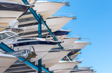Yachts stored up in dry storage waiting for maintenance - 137412378