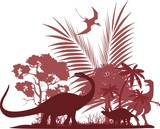 Wildlife  silhouettes of ancient dinosaurs and forest