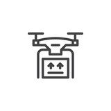 Drone delivery service line icon, outline vector sign, linear style pictogram isolated on white. Symbol, logo illustration