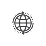 Globe with arrows around line icon, outline vector sign, linear style pictogram isolated on white. World wide shipping symbol, logo illustration