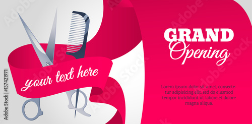Grand opening horizontal banner. New hairdressing saloon is opening.  Vector flat style illustration