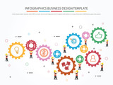 Teamwork with Gear Concept. Infographic Template. Vector Illustration.