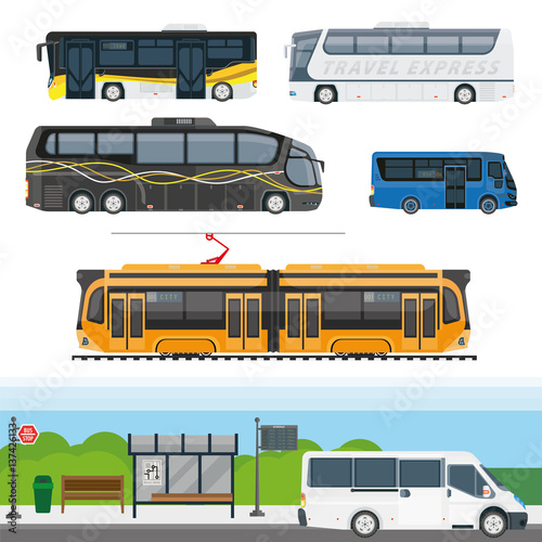 Passenger public and travel transport vector icons