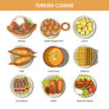 Turkish food cuisine vector icons for restaurant menu