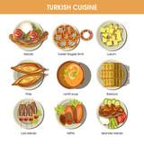 Turkish food cuisine vector icons for restaurant menu