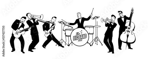 Fotobehang Muziek Jazz Swing Orchestra. Retro style. Cartoon vector illustration. 50's or 60's style musicians