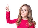 Child girl happy face point finger isolated. - 137432354