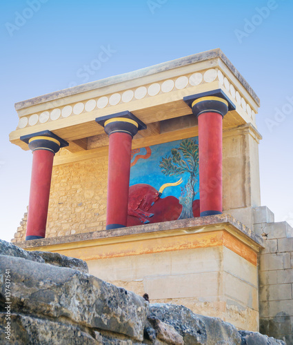 Ruins of Knossos Palace with famous red columns, Crete, Greece.