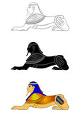 Sphinx - mythical creature of ancient Egypt isolated on white background - 137449124