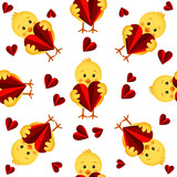 Seamless pattern with chicks and hearts