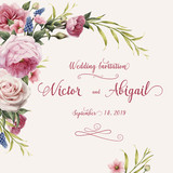 Greeting card with roses, watercolor, can be used as invitation card for wedding, birthday and other holiday and  summer background. Vector illustration. - 137454560