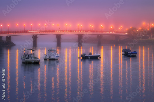 Poster Reflections in Plentzia bridge on foggy night