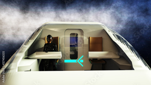 Foto op Canvas futuristic passenger bus flying in space. Transport of the future. 3d rendering.
