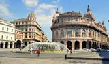 Palazzo della Nova Borsa Valori und Springbrunnen auf der Piazza de Ferrari in Genua