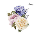 Bouquet of roses, watercolor, can be used as greeting card, invitation card for wedding, birthday and other holiday and  summer background. - 137458928