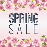 Spring sale graphic with delicate pink flowers