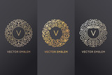 Fototapety Vector set of logo design templates and monogram frames