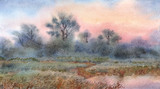 Watercolor landscape. Sunrise over the woods and meadows around the lake