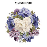 Greeting card with flowers, watercolor, can be used as invitation card for wedding, birthday and other holiday and  summer background. - 137461989