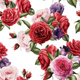 Seamless floral pattern with roses, watercolor. - 137462309