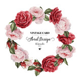 Wreath of roses, watercolor, can be used as invitation card for wedding, birthday and other holiday and  summer background. - 137463710