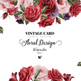 Greeting card with roses, watercolor, can be used as invitation card for wedding, birthday and other holiday and  summer background. - 137463732