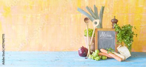 menu template, blackboard and food ingredients,panoramic,free copy space