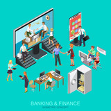 Isometric flat concept banking and finance