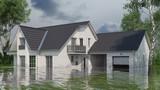 Haus mit Wasserschaden nach Hochwasser