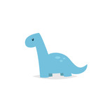 Cute dinosaur brachiosaurus cartoon vector