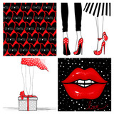 Super kit with fashion vector cards.Red glow lips,seamless hearts background,Girl in high heels,gift boxes and presents.Collection designs for Valentines day, Birthday.Stylish poster in vogue style