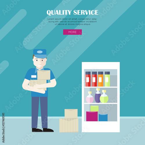 Keuken foto achterwand Boodschappen Quality Service in Grocery Shop Vector Web Banner.