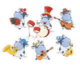 illustration of a Set of a Cute Cartoon Cows Musicians for you Design