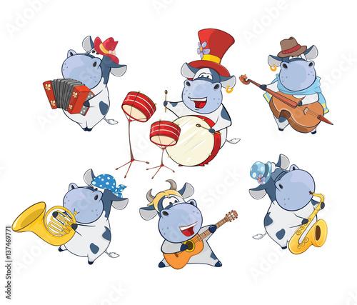 Deurstickers Babykamer illustration of a Set of a Cute Cartoon Cows Musicians for you Design