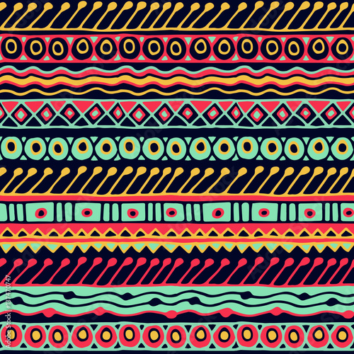 Cotton fabric Ethnicity seamless pattern. Boho style. Ethnic wallpaper. Tribal art print. Old abstract borders background texture