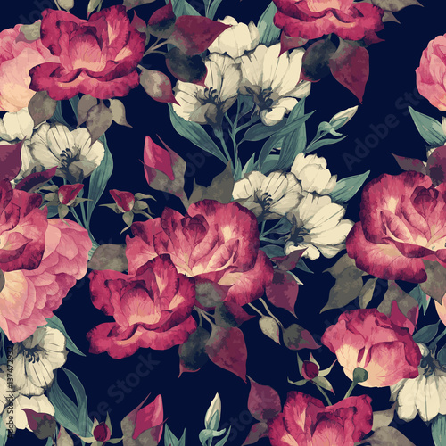 Seamless floral pattern with roses, watercolor. Vector illustration. - 137472932
