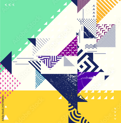 Abstract geometric composition with decorative elements