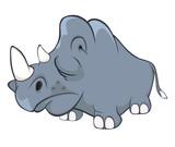 Illustration of a Cute Black Rhinoceros. Cartoon