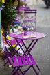 Table decoration with flowers and Easter egg in an outdoor cafe in Paris, France