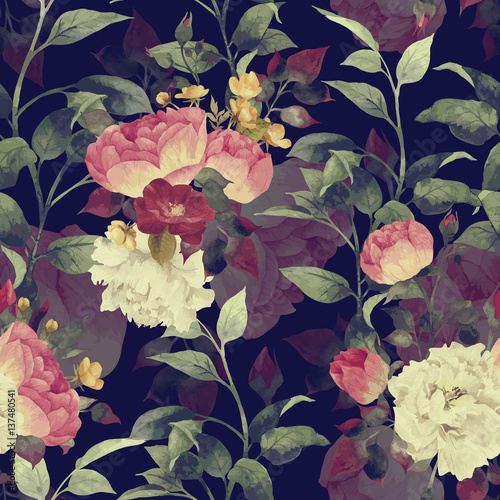 Seamless floral pattern with roses, watercolor. Vector. - 137480541