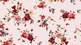 Seamless floral pattern with roses, watercolor. - 137480799