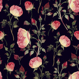 Seamless floral pattern with roses, watercolor. - 137480954