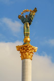 Statue of Berehynia on the top of Independence Monument on the Maidan Nezalezhnosti in Kiev, Ukraine.