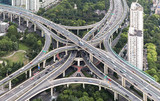 Aerial View of  elevated highway and overpass in Modern City
