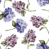 Seamless floral pattern with hydrangea, watercolor. - 137485560