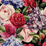Seamless floral pattern with roses, watercolor. - 137485728